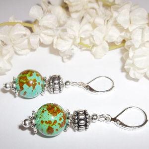 Green Turquoise Glass Beaded Earring Set NWT 4604